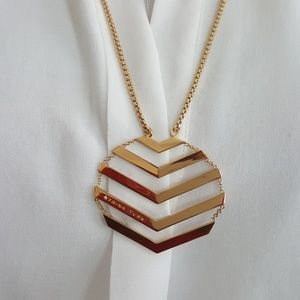New Trina Turk Gold Chevron Pendant Necklace